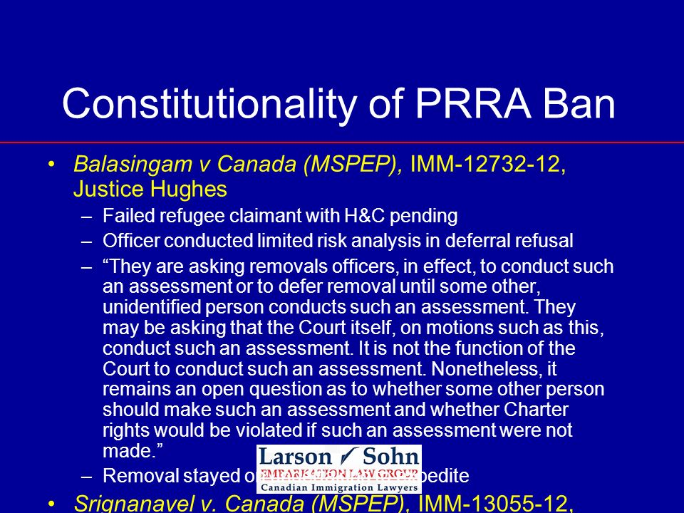 Constitutionality of PRRA Ban