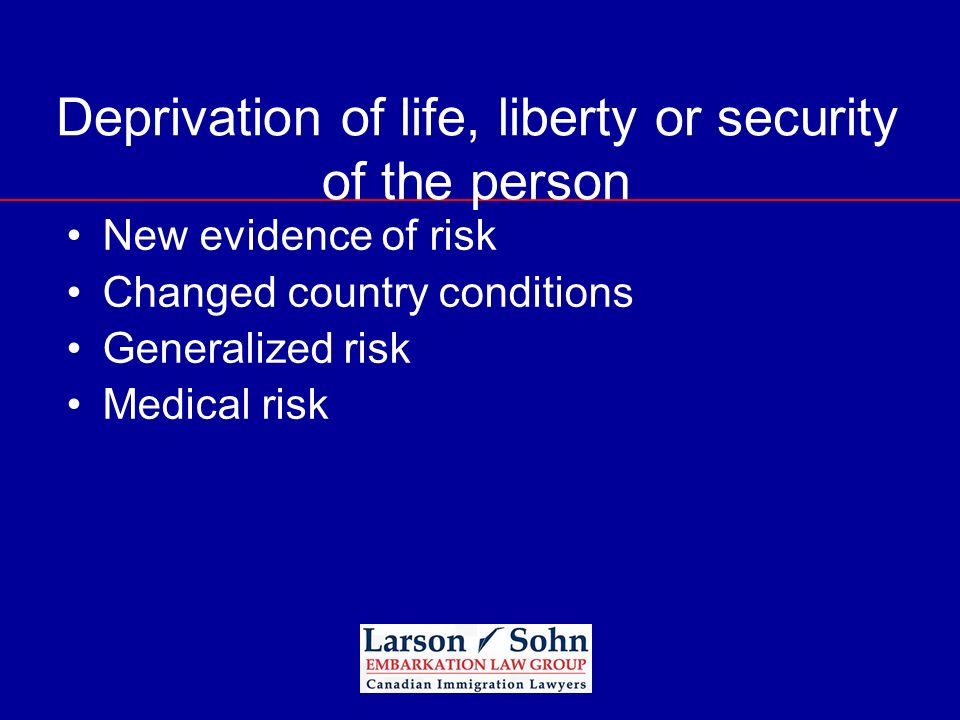 Deprivation of life, liberty or security of the person