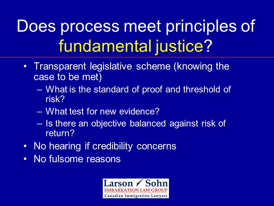 Does process meet principles of fundamental justice