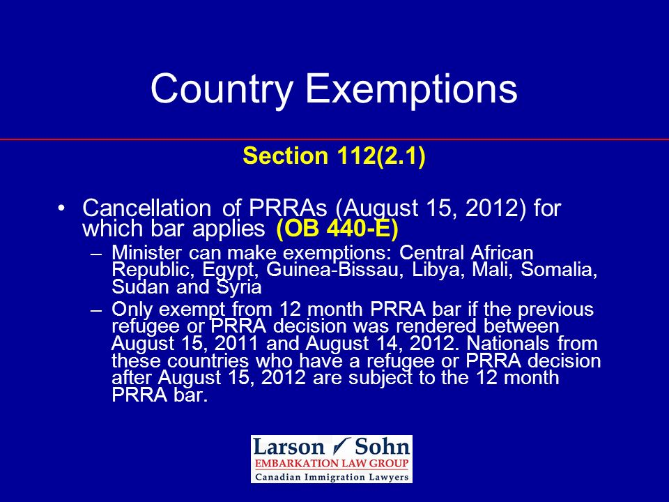 Country Exemptions Section 112(2.1)
