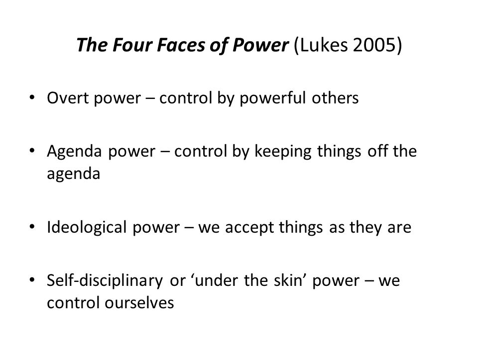 The Four Faces of Power (Lukes 2005)