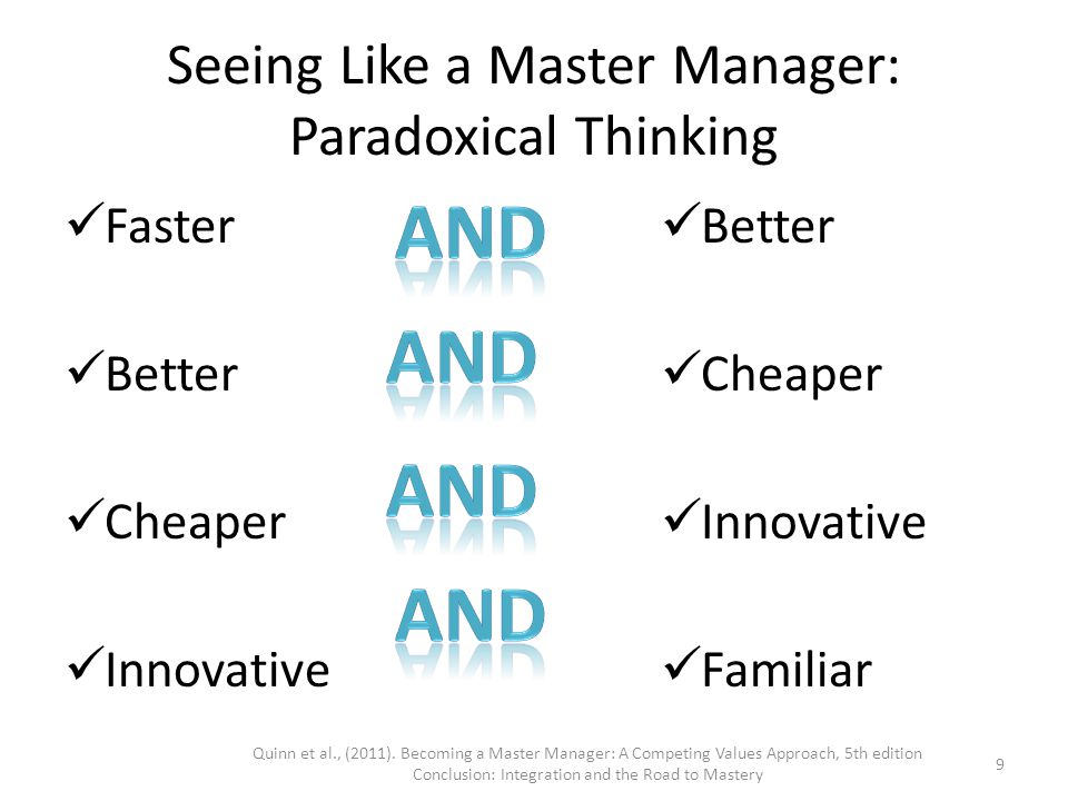 mastery in business and paradoxical thinking This work will give you the ability to think and act beyond your beliefs of what was   four parts contain four paradoxes that will explore in a vigorous program.