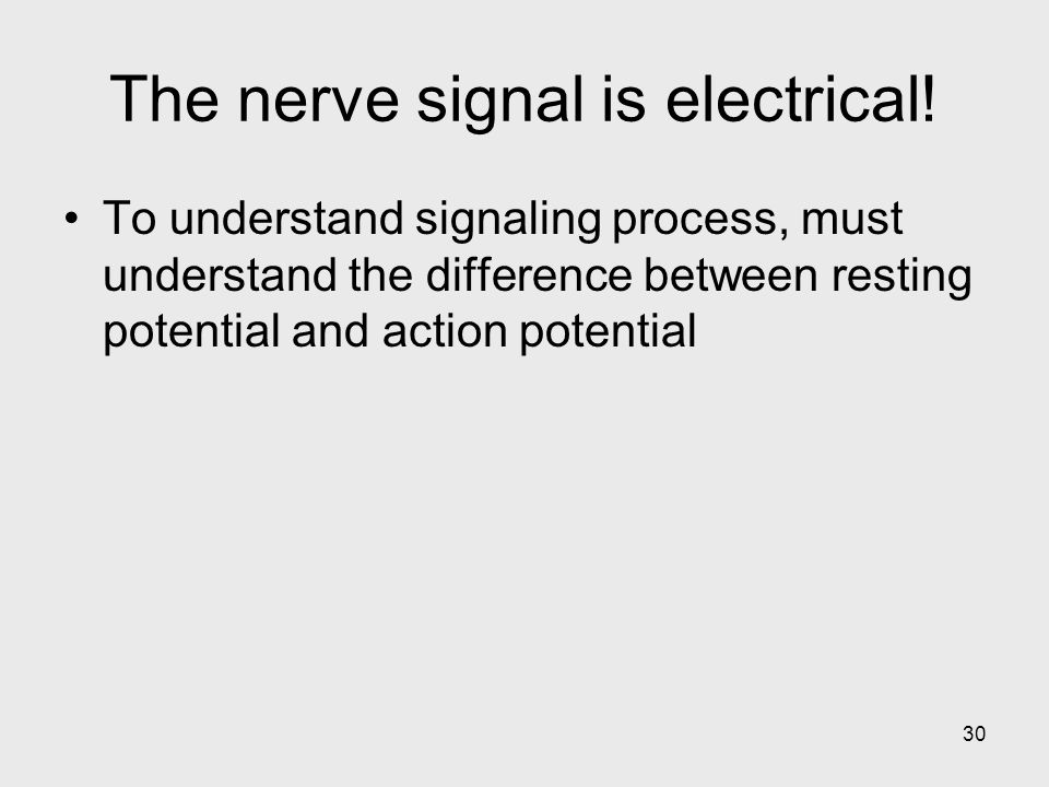 The nerve signal is electrical!