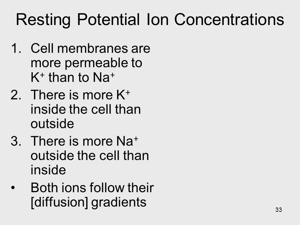 Resting Potential Ion Concentrations