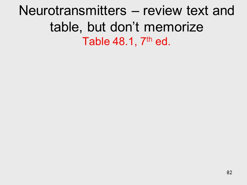 Neurotransmitters – review text and table, but don't memorize Table 48