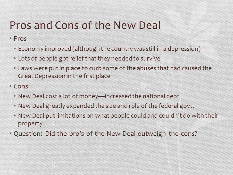 Pros and Cons of the New Deal