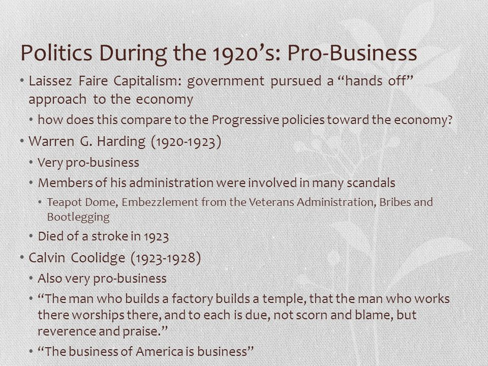 Politics During the 1920's: Pro-Business