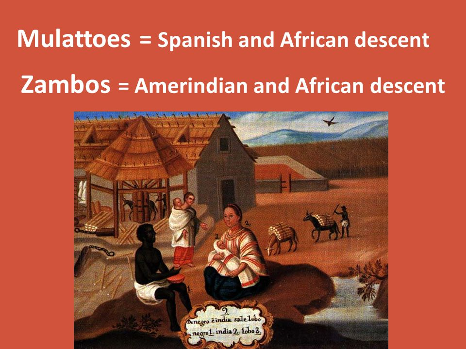 Zambos = Amerindian and African descent