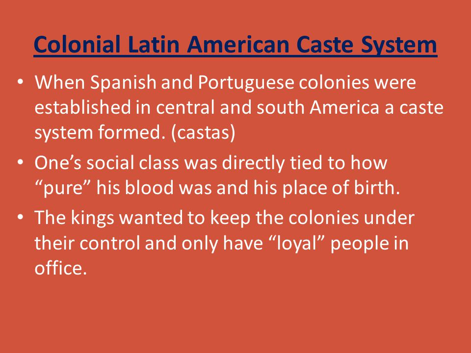 Colonial Latin American Caste System