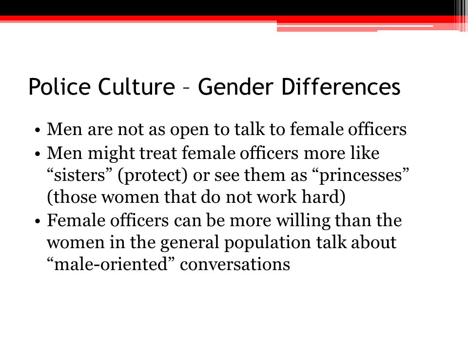 Police Culture – Gender Differences