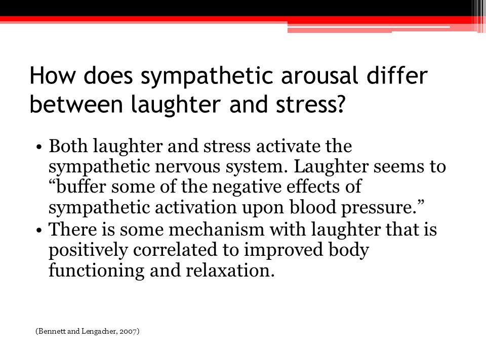 How does sympathetic arousal differ between laughter and stress