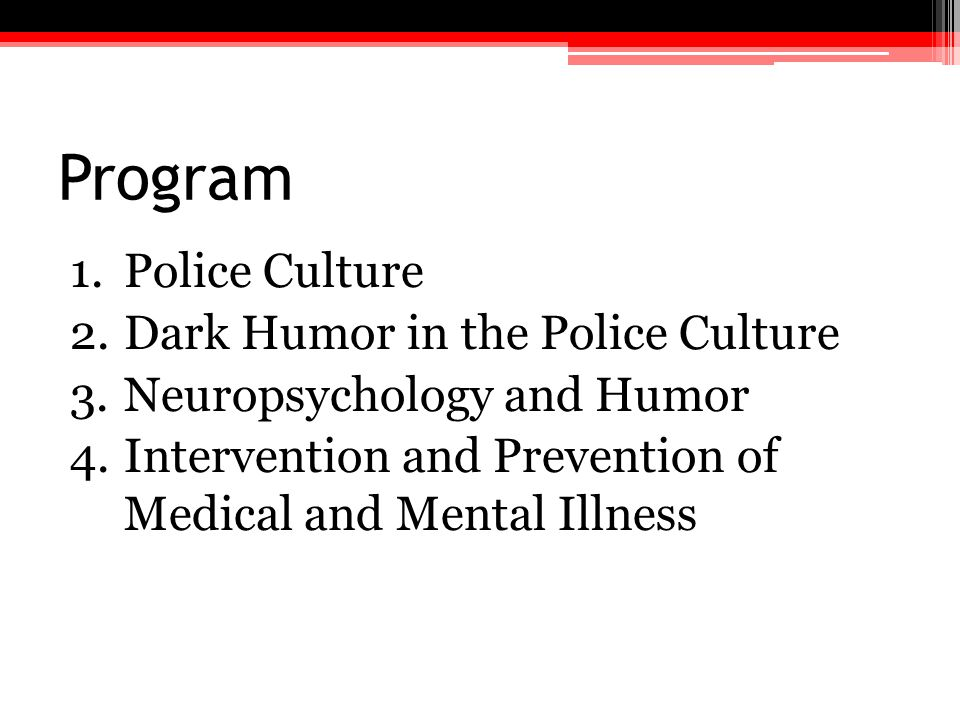Program Police Culture Dark Humor in the Police Culture