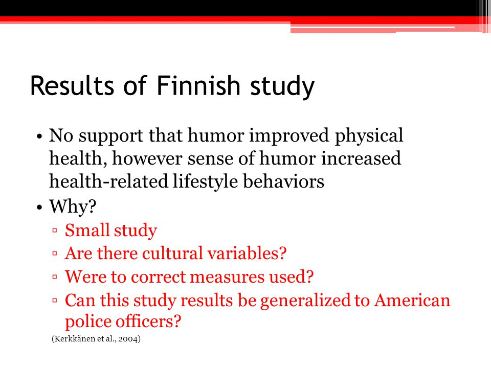 Results of Finnish study