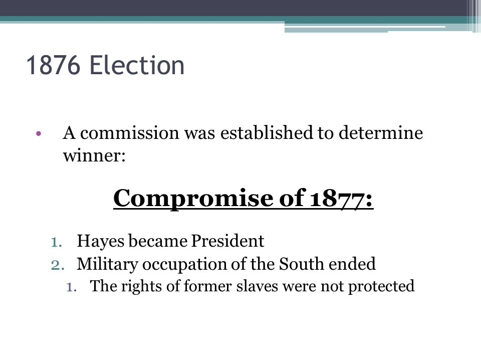 1876 Election Compromise of 1877: