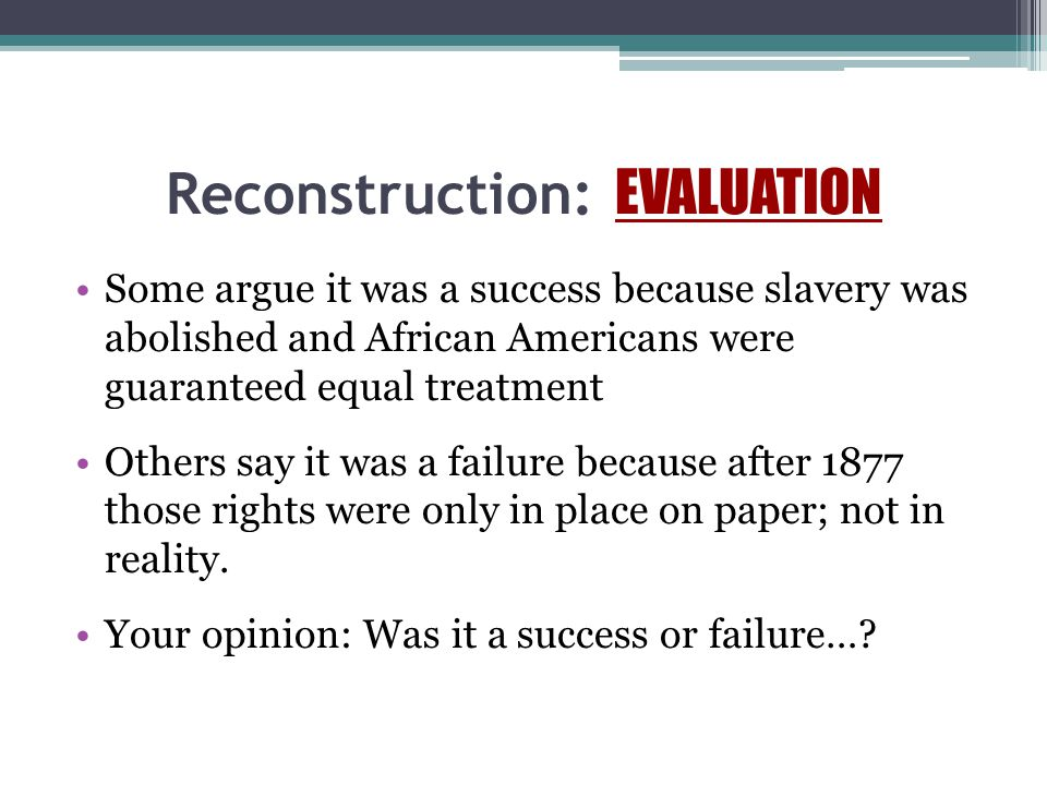 Reconstruction: EVALUATION
