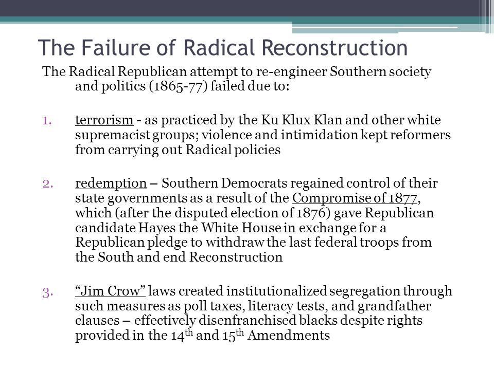 The Failure of Radical Reconstruction