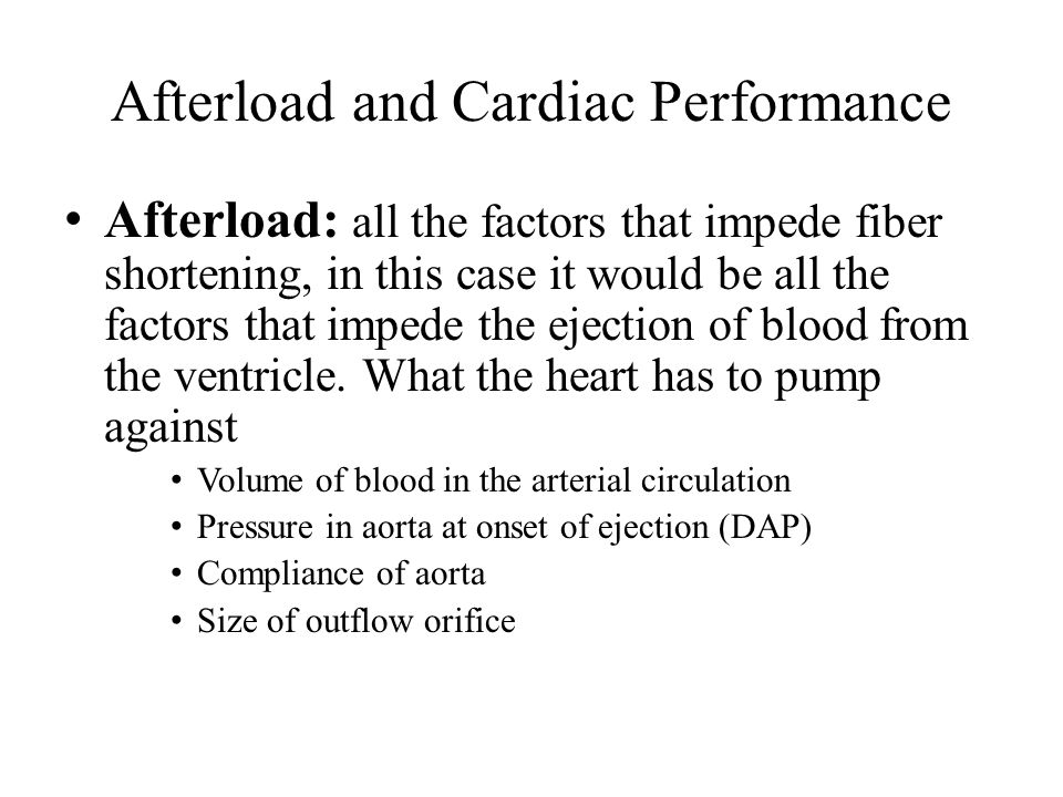 Afterload and Cardiac Performance