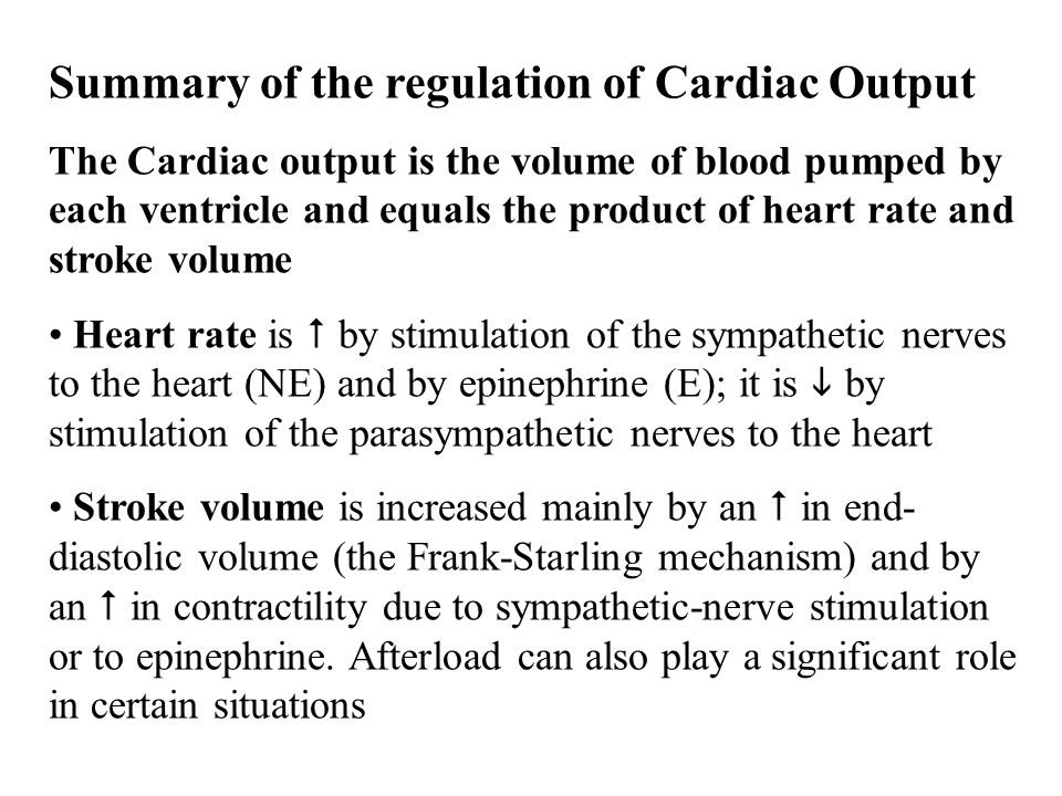 Summary of the regulation of Cardiac Output