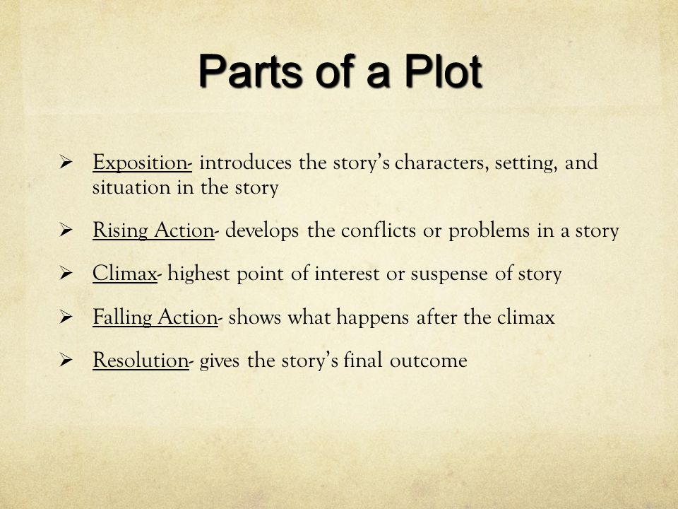 Parts of a Plot Exposition- introduces the story's characters, setting, and situation in the story.