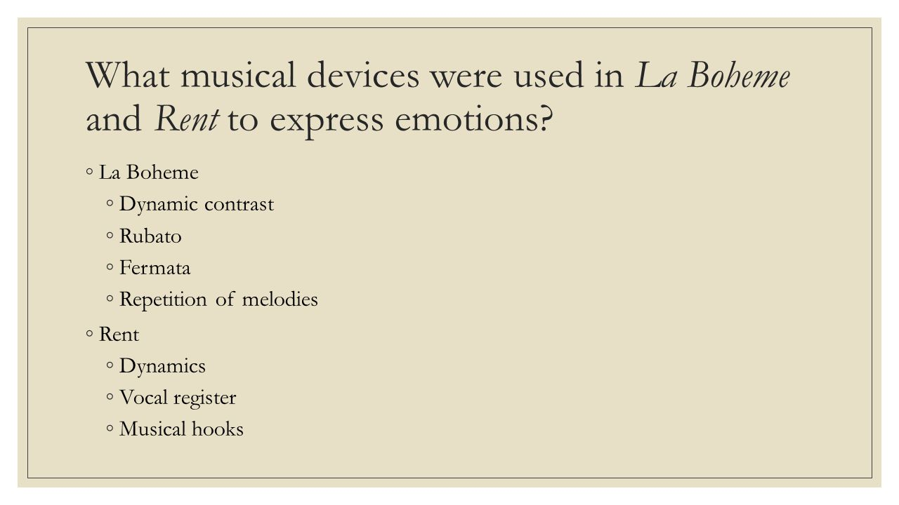 What musical devices were used in La Boheme and Rent to express emotions