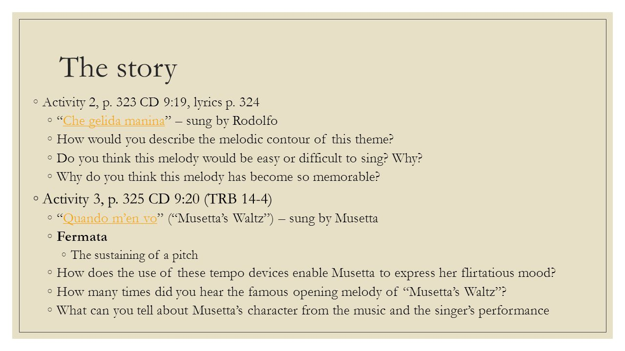 The story Activity 3, p. 325 CD 9:20 (TRB 14-4)