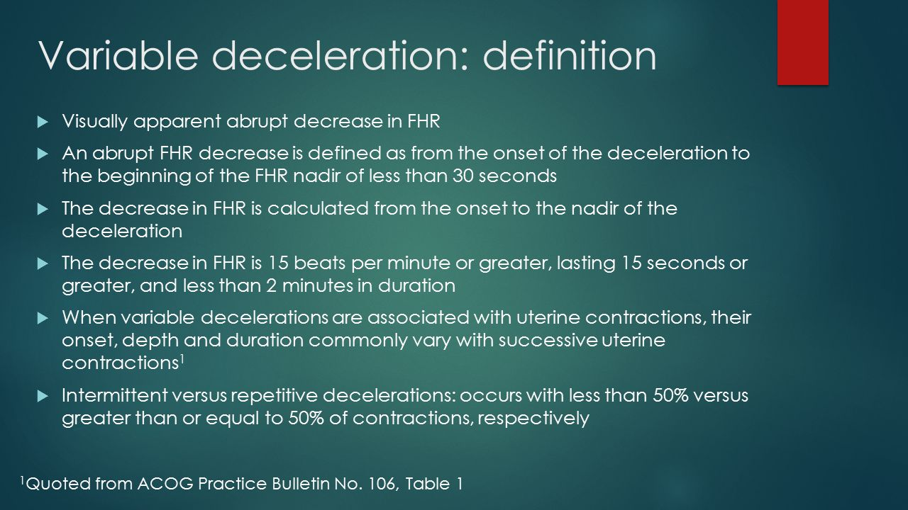 Variable deceleration: definition