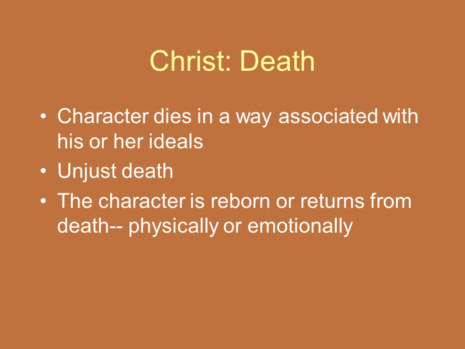 Christ: Death Character dies in a way associated with his or her ideals. Unjust death.