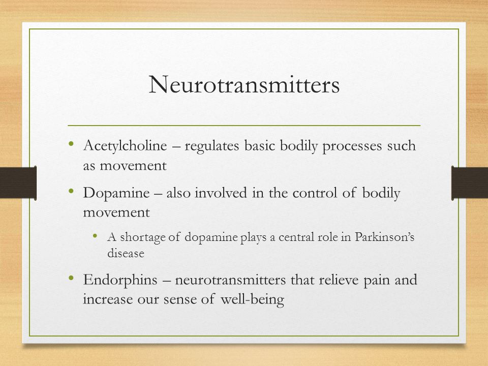 Neurotransmitters Acetylcholine – regulates basic bodily processes such as movement. Dopamine – also involved in the control of bodily movement.