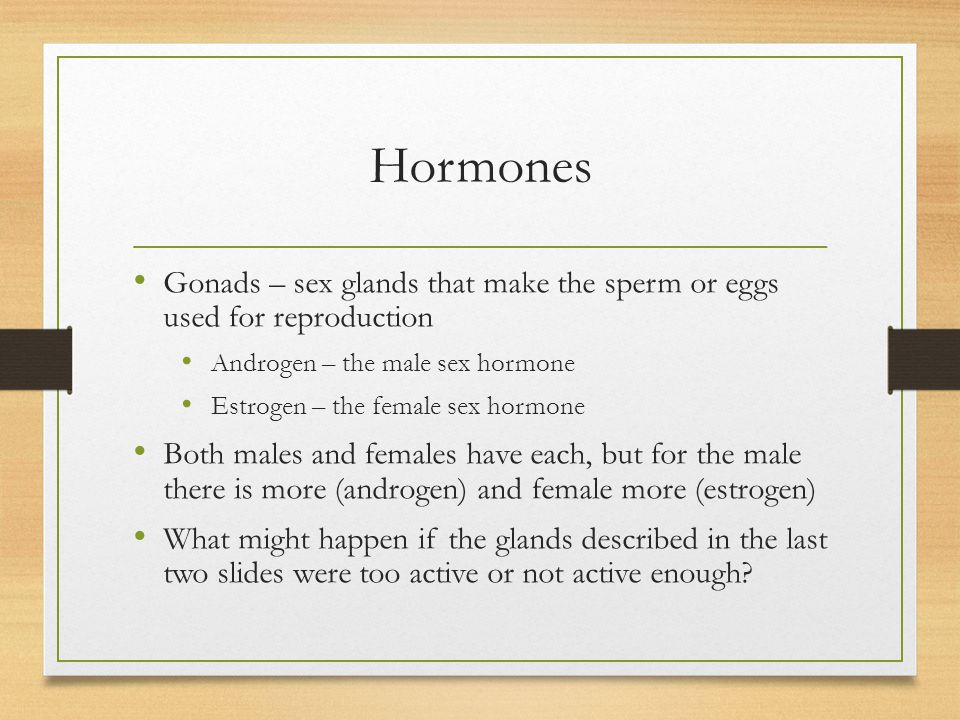 Hormones Gonads – sex glands that make the sperm or eggs used for reproduction. Androgen – the male sex hormone.