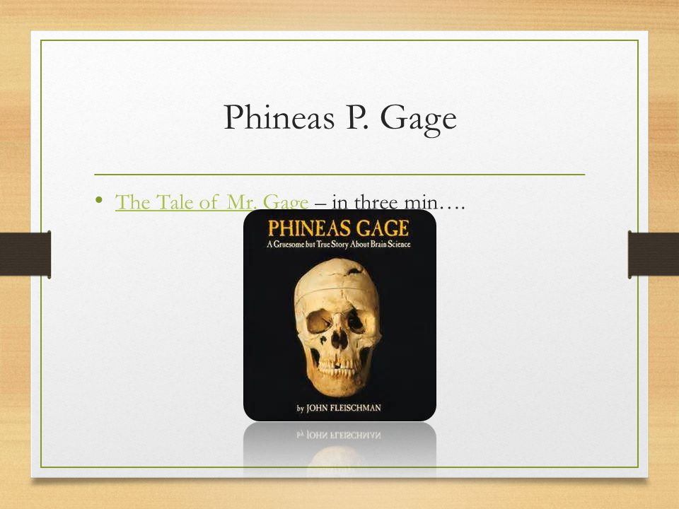 Phineas P. Gage The Tale of Mr. Gage – in three min….