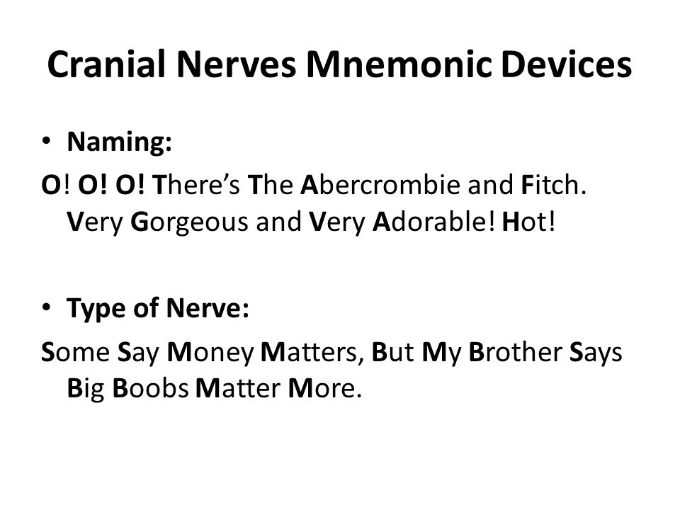 Cranial Nerves Mnemonic Devices