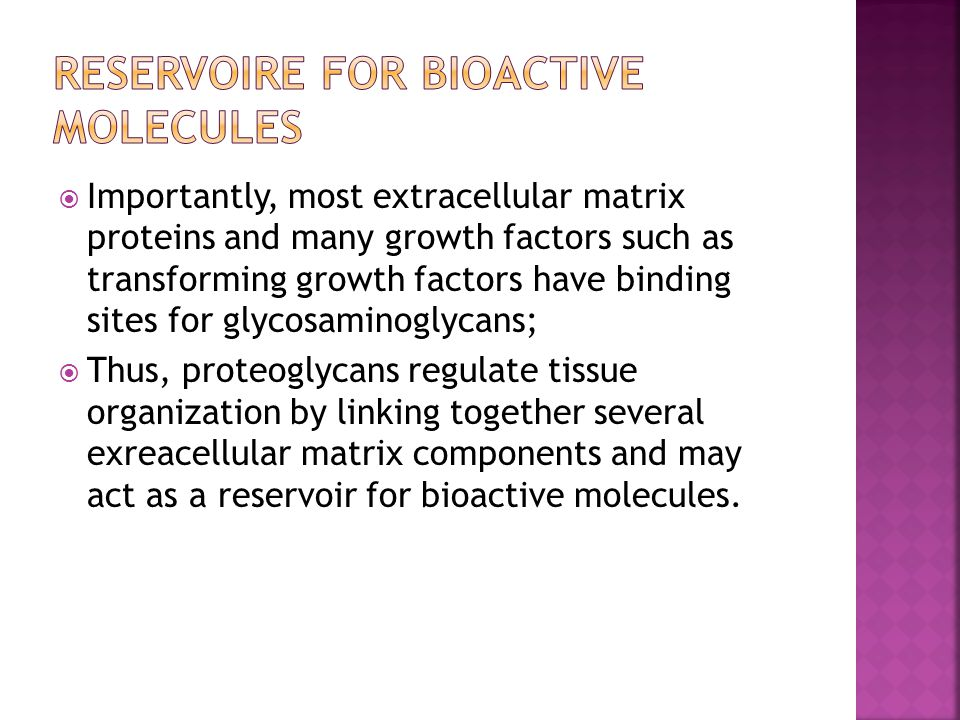 Reservoire for bioactive molecules