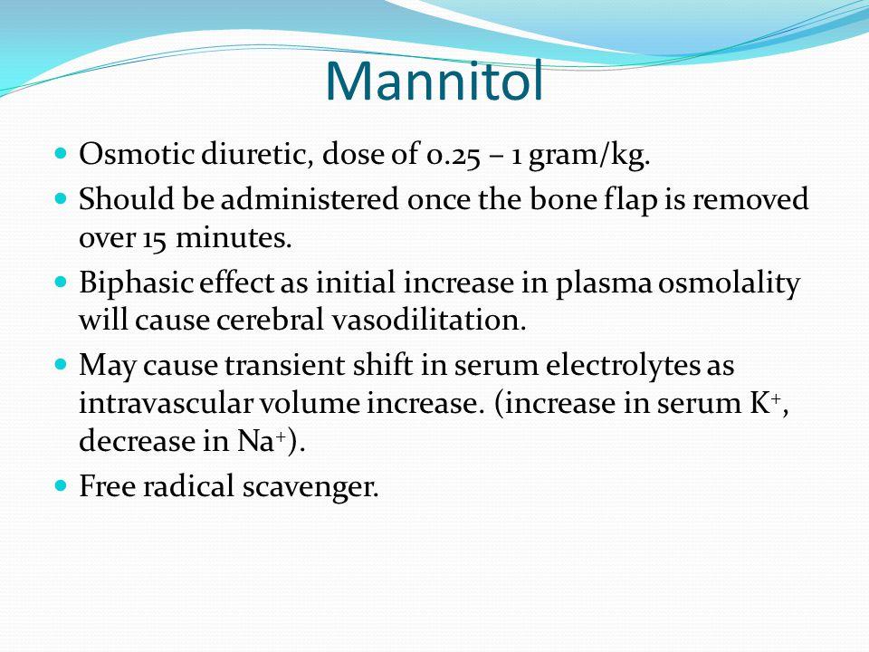 Mannitol Osmotic diuretic, dose of 0.25 – 1 gram/kg.