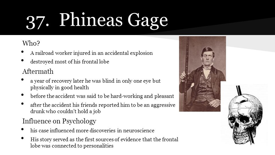 37. Phineas Gage Who Aftermath Influence on Psychology