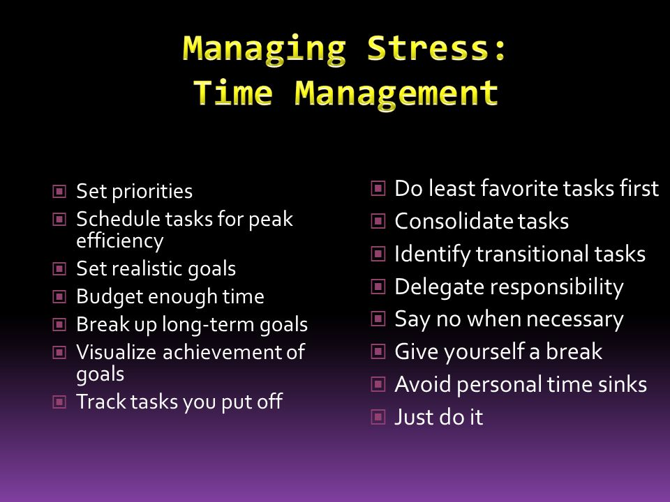 Managing Stress: Time Management