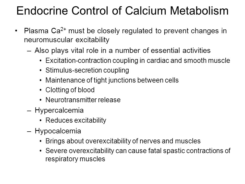 Endocrine Control of Calcium Metabolism