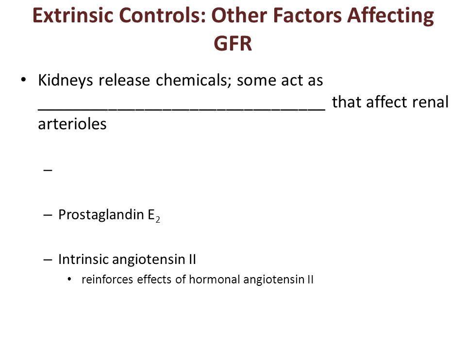 Extrinsic Controls: Other Factors Affecting GFR