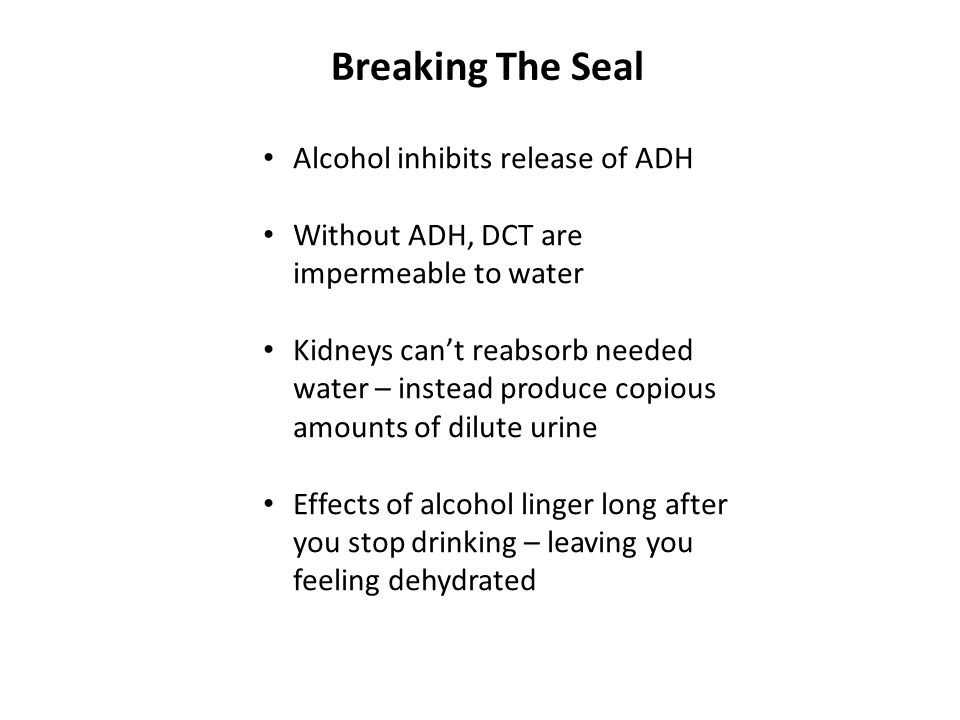 Breaking The Seal Alcohol inhibits release of ADH