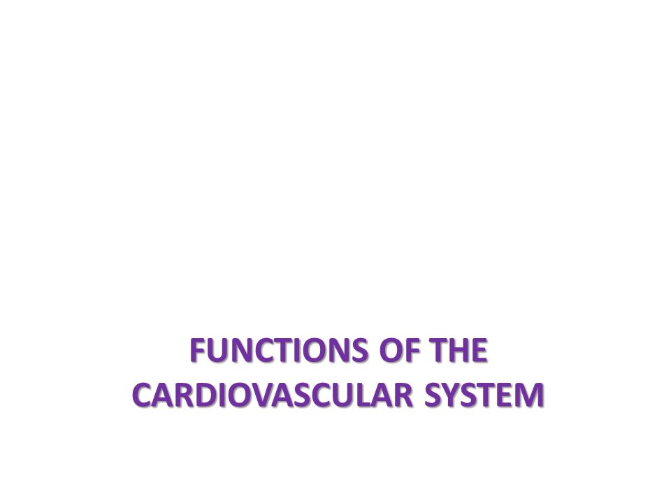 Functions of the cardiovascular System