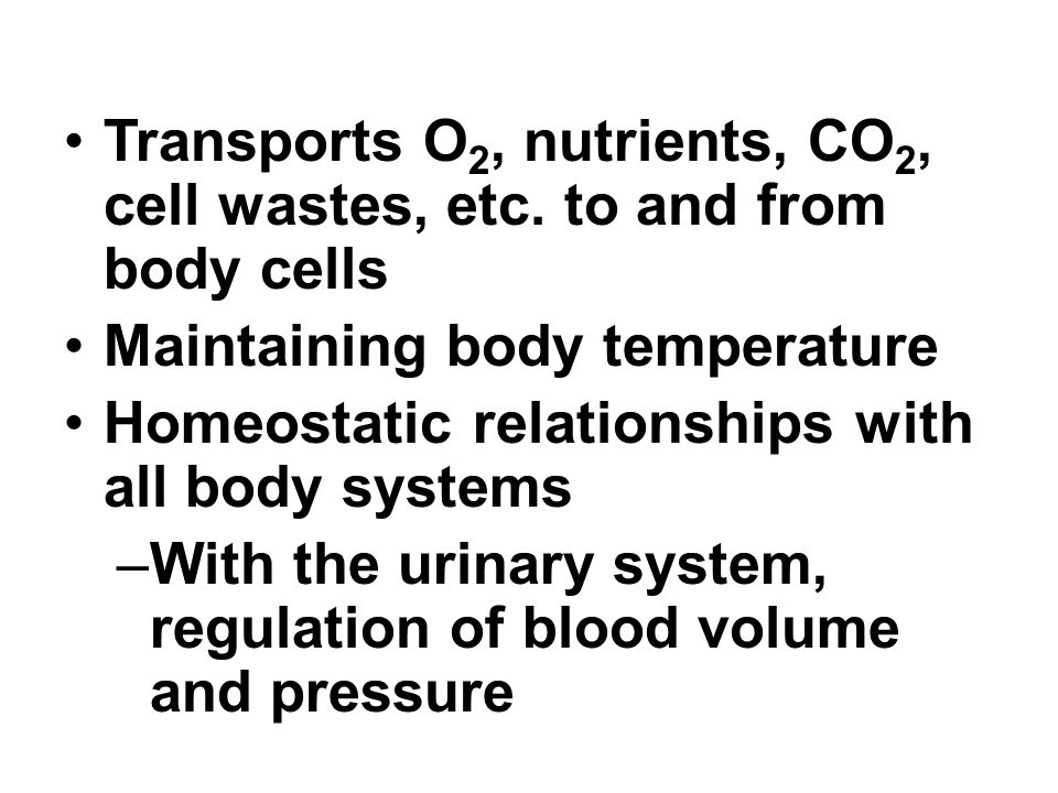 Transports O2, nutrients, CO2, cell wastes, etc. to and from body cells