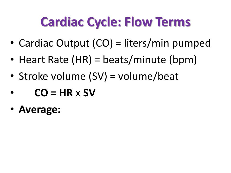 Cardiac Cycle: Flow Terms