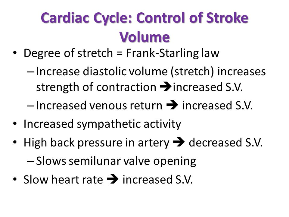 Cardiac Cycle: Control of Stroke Volume