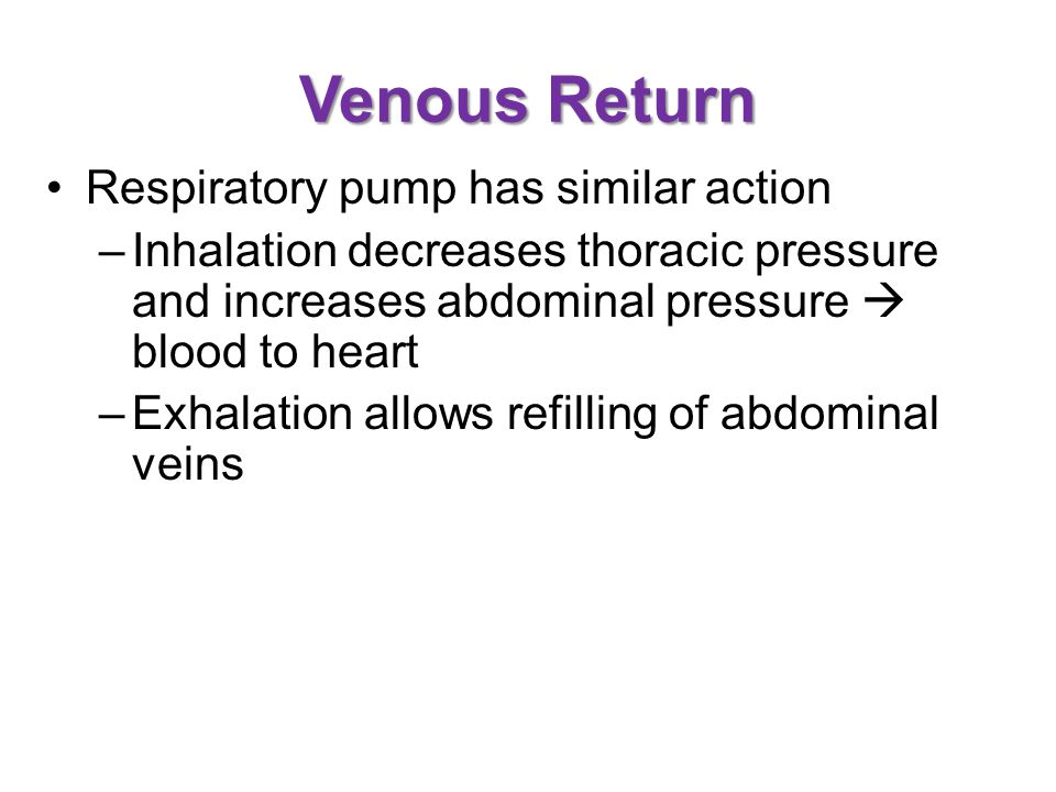 Venous Return Respiratory pump has similar action