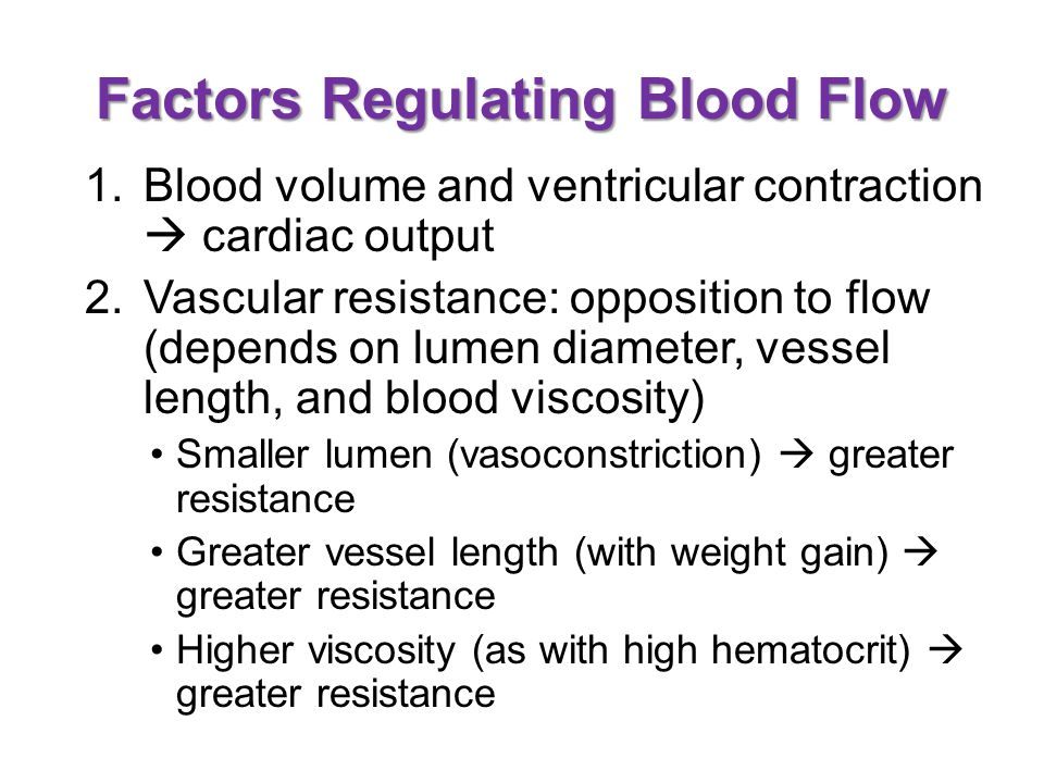 Factors Regulating Blood Flow