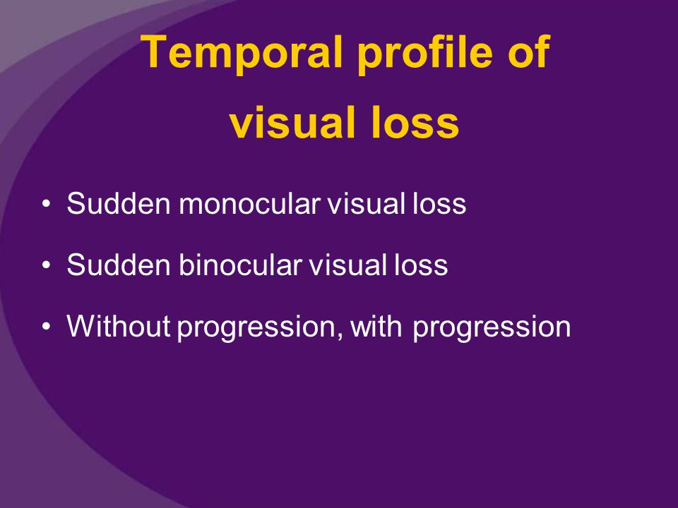 Temporal profile of visual loss