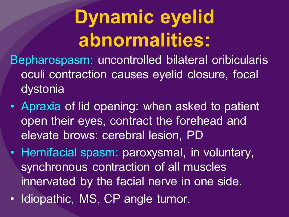 Dynamic eyelid abnormalities: