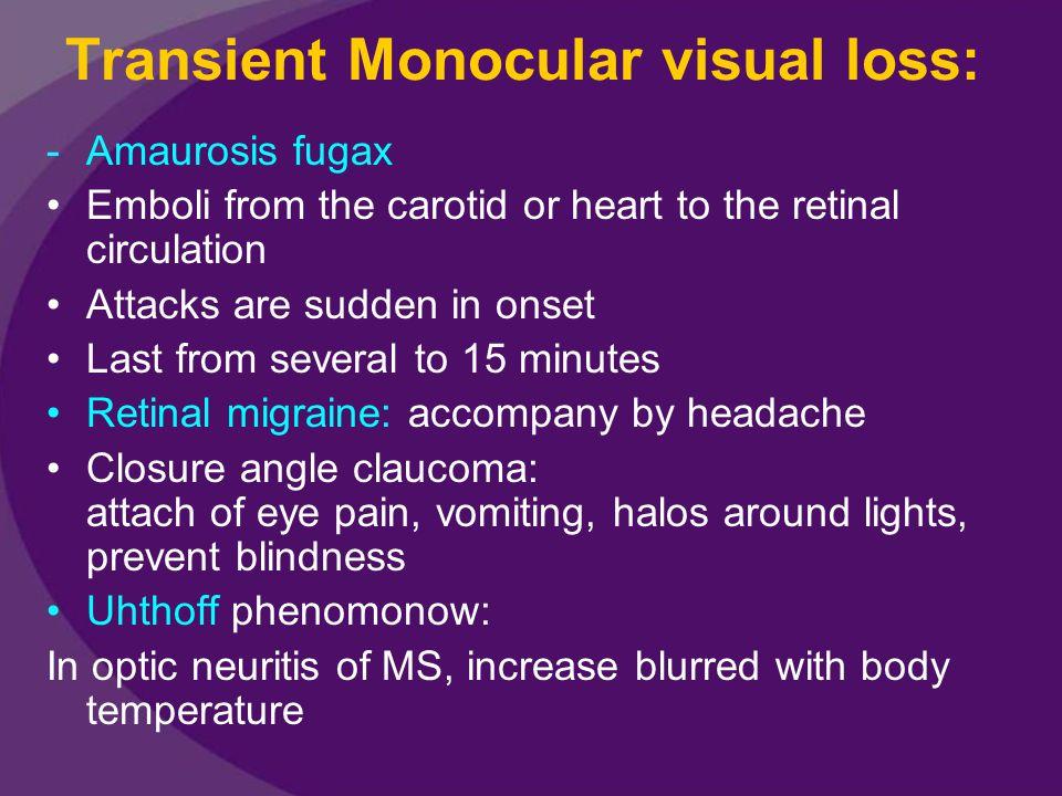 Transient Monocular visual loss: