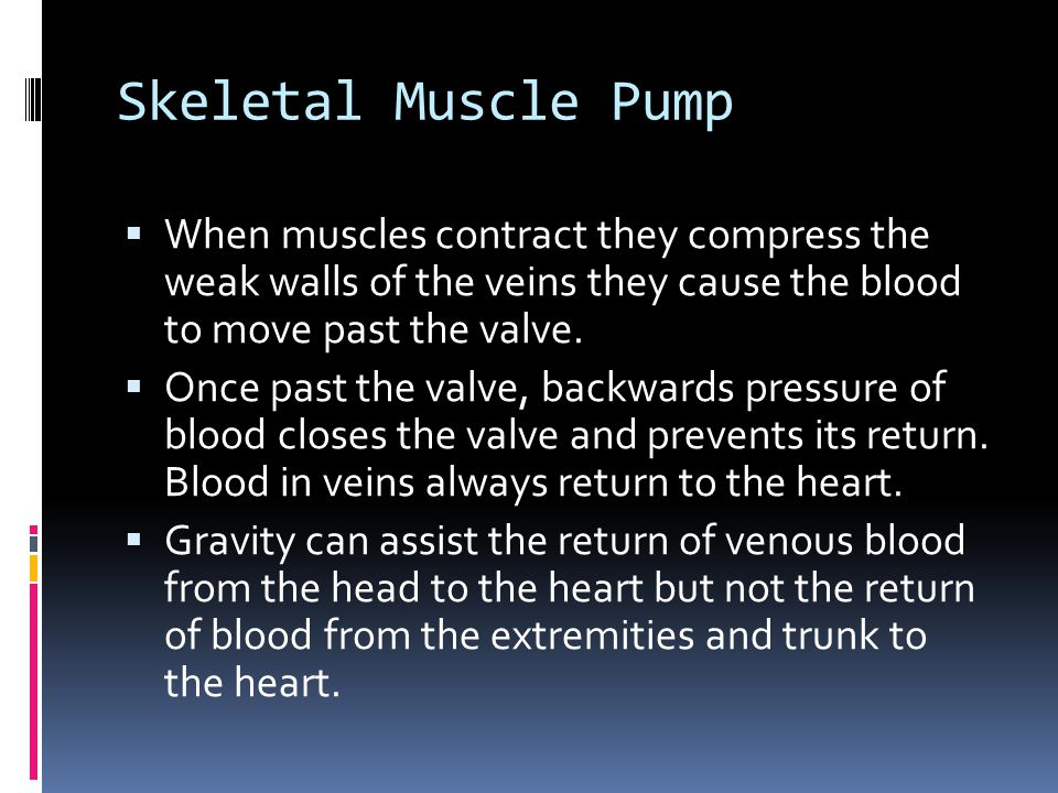 Skeletal Muscle Pump When muscles contract they compress the weak walls of the veins they cause the blood to move past the valve.