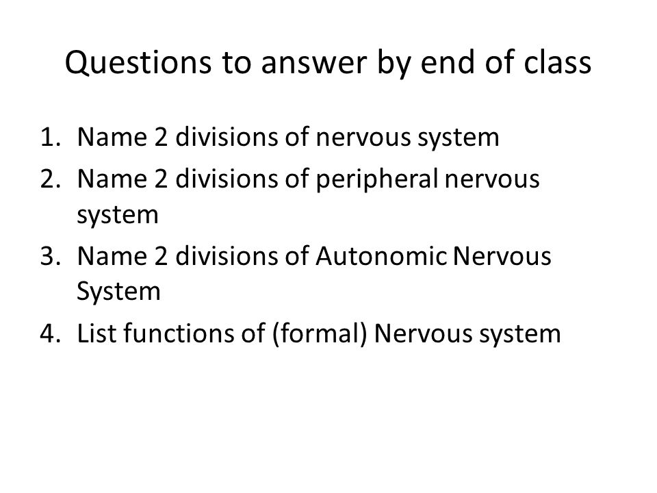 Questions to answer by end of class