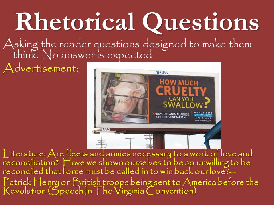 Rhetorical Questions Asking the reader questions designed to make them think. No answer is expected.